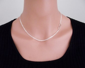 Infinity Double Chain Necklace - Eternity Circle, Infinity Link, Sterling Silver - Dainty Necklace