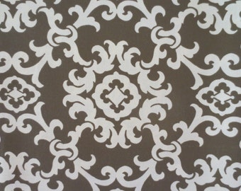Outdoor Pillow Cover Brown and Cream Damask  Print / Brown Pillow Cover