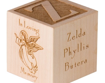 Memorial Cube Bereavement Cube Gift Angel Cube Memorial Cube Memorial Angel Cube In Loving Memory Cube Wooden Engraved Cube Gift