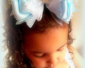 Blue Princess Satin Hair Bow...Cinderella Blue Hair Bow....Princess Hair Bow...Girls Hair Bow....Toddler Hair Bow