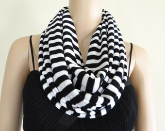 Black And White Stripe Circle Scarf. Stripe Infinity Scarf. Soft Cotton Spandex Loop Scarf.