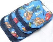 Cloth Wipes - Cotton Velour or Baby terry and Flannel - Set of 5 or 6 - Baby Washcloths - Reusable Wet Wipe - Cloth Diaper - Disney Cars