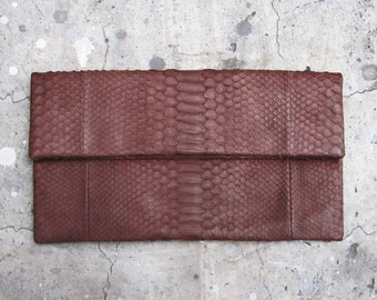 OVERSIZE - Chocolate Brown Fold Over Python Snakeskin Leather Clutch Bag
