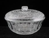 KIG Of Indonesia  Large Clear Sandwich Glass Candy Box and Lid with Scroll and Fleur De Lis Pattern Vintage 1950s