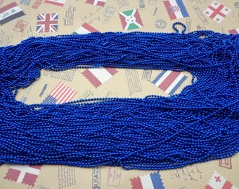 20 PCS  Royal Blue  Ball  Chain Necklaces - 27inch, 1.5mm