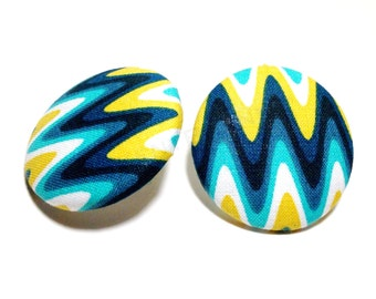 Oversized Electric Eel Wave Print Button Earrings