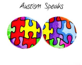 Oversized Autism Awareness Puzzle Print Button Earrings