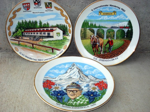 Vintage Plates Collectable Porzellan Manufaktur Floss Bavaria Souvenir Plates