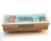 Thinking Of You Wood Mounted Rubber Studio G Stamp NEW