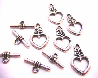 10 Sets of Antique Silver Toggle Bar Clasps 20mm x 13mm Necklace Closure Bracelet Closure Connecter Bar And Ring CLASP004