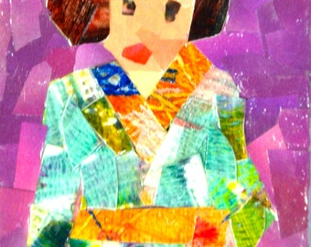 Original ACEO Collage- Lady in a Green Kimono Dress