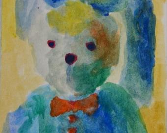 Original ACEO Watercolor Painting: Mr Bunny No.1