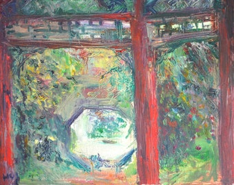 Original Oil Landscape Painting: Inside a Chinese Garden