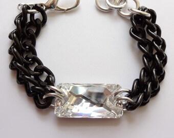 Chunky Chain Statement Bracelet Statement Jewelry Layering Stacking Swarovski Black Vintage MATERIAL GIRL