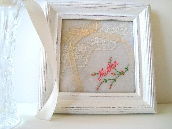Framed vintage handkerchief--Mother's Day