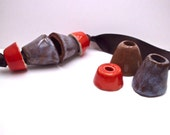 Plum and chocolate beads, terracotta conic beads, pottery supply