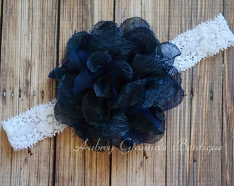 Navy and White Headband, Newborn to Toddler Headband, Baby Girl Photo Prop, Infant Headband