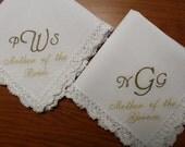 Set of 2 Custom Monogrammed Mother of the Bride/Groom Handkerchief