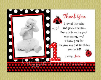 Ladybug Birthday Thank You Card