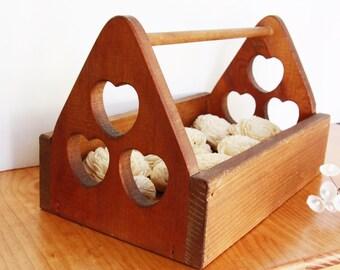 Flower Girl Rustic Basket - Wood Tool Box Hearts - Wedding Wooden Cards Box - Farm House Wedding - Vintage - Rustic Country Western Wedding