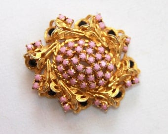 Vintage Brooch Pin - Mauve Pink and Black Stones -  Metal Horn Filigree Gold Tone Brooch - Wedding Accessory - Bride Jewelry - Unusual