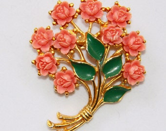 Vintage Coral Brooch Pin - Roses Brooch Pin - Resin Coral Orange Bouquet Brooch - Carved Flowers - Gold Tone - Vintage