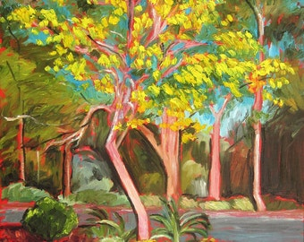 """Original 16 x 20 impressionist oil painting """"Falling Inhibitions"""" by Rivkah Singh/ yellow tree landscape"""