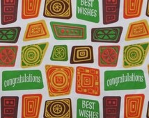 Vintage Rust Craft CONGRATULATIONS Gift Wrap - Wrapping Paper - MOD TIKI Design - 1960s