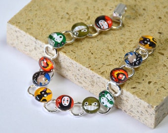 Totoro & Studio Ghibli Friends Glass Bracelet - Silver Plated