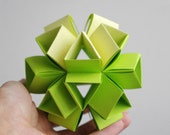 Paper ball - Geometric - green, yellow - Spring - eco - paper mobile - ornament - Modern