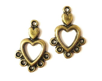 Chandelier Earring Findings 19x13mm Antique Brass Tone Metal (Bronze) Small Valentines Day Heart Earing Connector Jewelry Findings 3 Pairs