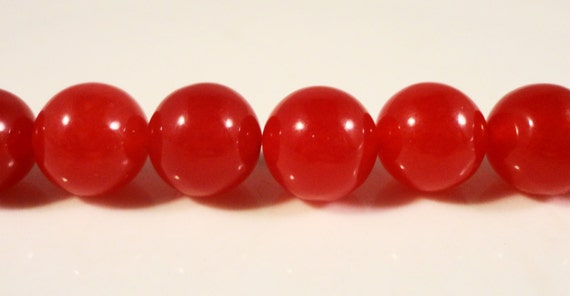 Red Jade Beads 10mm Round Ruby Red Dyed Candy Jade Gemstone Beads Mountain Jade Stone Beads on a 7 1/4 Inch Strand with 19 Beads