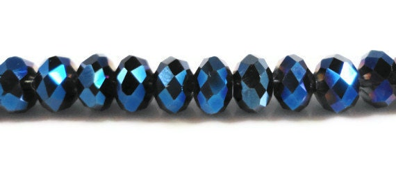 Blue Crystal Rondelles 6x4mm Metallic Blue Faceted Chinese Crystal Beads on an 8 1/4 Inch Strand with 50 Beads