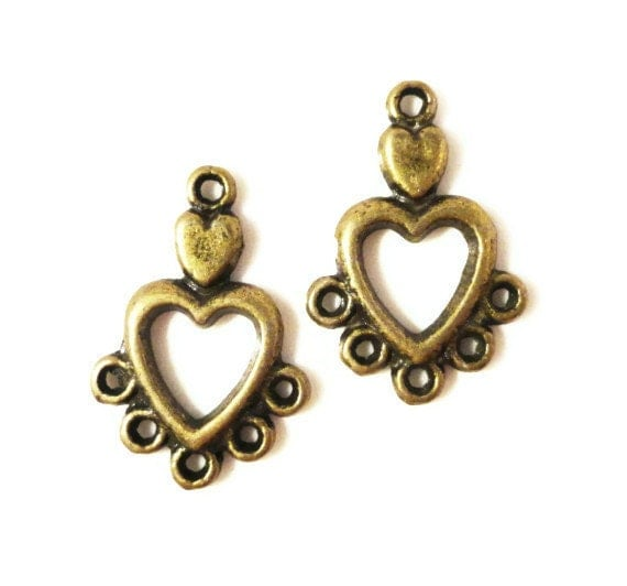 Chandelier Earring Findings 19x13mm Antique Brass Tone Metal (Bronze) Small Valentines Day Heart Earring Connector Jewelry Findings 3 Pairs