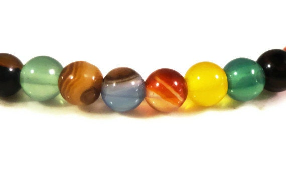 """14"""" Strand Agate Gemstone Beads 4mm Round Small Multicolor Agate Dyed Stone Beads for Jewelry Making on a Full 14 Inch Strand with 95 Beads"""