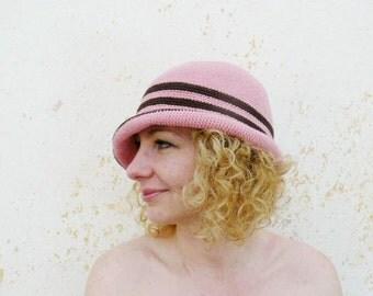 Woman's sun cloche, summer pink wide brim hat, cotton crochet hat, dust pink, brown, chocolate
