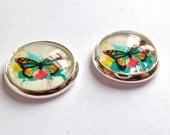butterfly earrings, silver earrings, multi color  post stud, photo studs