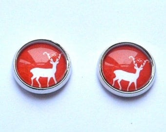 red studs deer stag silver post earrings photo jewelry