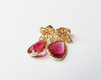 Raspberry Teardrop Earrings - Bow Earrings
