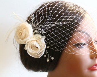 Birdcage Bandeau Veil, Ivory Roses Birdcage Veil and Fascinator, Vintage Style Head Piece, Wedding Accessories