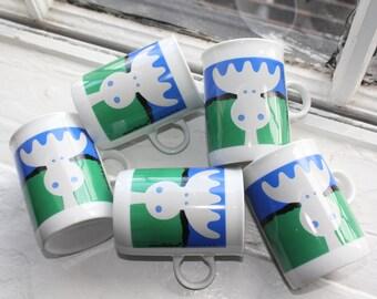 5 vintage Moose- mugs by Aarikka Finland