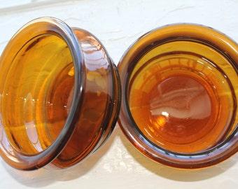 Pair of vintage brown glass bowls