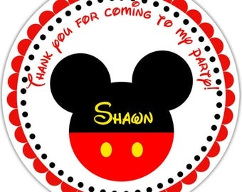 Mickey Mouse Head - Personalized Stickers, Party Favor Tags, Thank You Tags, Gift Tags, Address labels, Birthday, Baby Shower