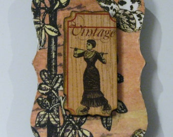 Vintage Lady in Victorian Dress on Floral and Butterfly Background Decoupage Wood-on-Wood Magnet