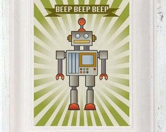 Retro Vintage Robot Poster A3