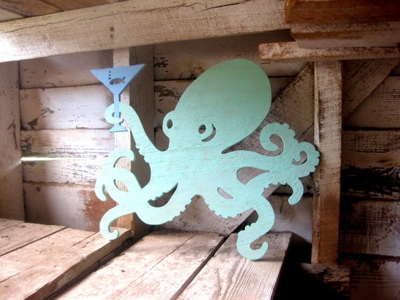 Octopus, cocktails, martini, wood sign, wall art, beach, bar, kitchen, seafood, shabby chic, cottage (also available WITHOUT MARTINI GLASS)