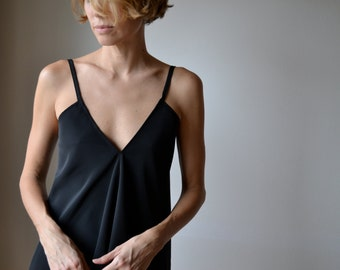 Black backless camisole tank top. Backless top. Boho singlet tank top. One size.
