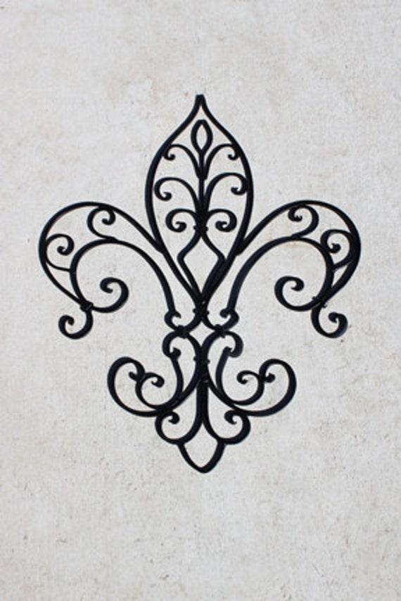items similar to wall decor fleur de lis wrought iron. Black Bedroom Furniture Sets. Home Design Ideas