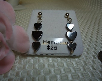Hematite Heart Dangle Earrings in Sterling Silver   #626
