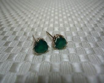 Heart Cut Green Botswana Agate Earrings in Sterling Silver   #631